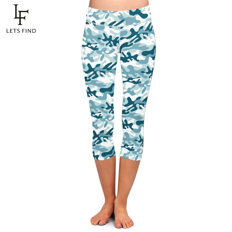 Hot Sale Fashion Workout Capri Leggings for Women High Waist Camouflage Printed Female Fitness Mid-Calf Pants Casual Trousers