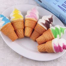 soft Slow rebound Simulation ice cream Pendant toys Rainbow Ice Cream Squishy Scented Slow Rising Skvishi Anti stress Toy(China)