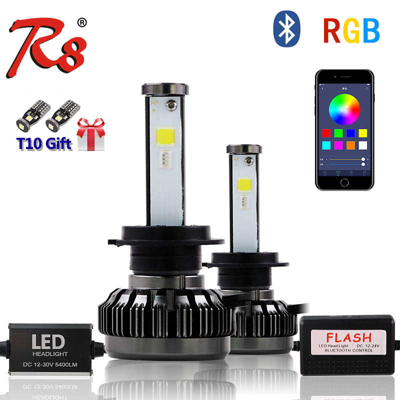 R8 New Multi-color LED Headlight Kit H1 H4 H7 H8/H11 9005 9006 880 5202 RGB LED Bulbs APP Bluetooth Control White Red Blue Pink