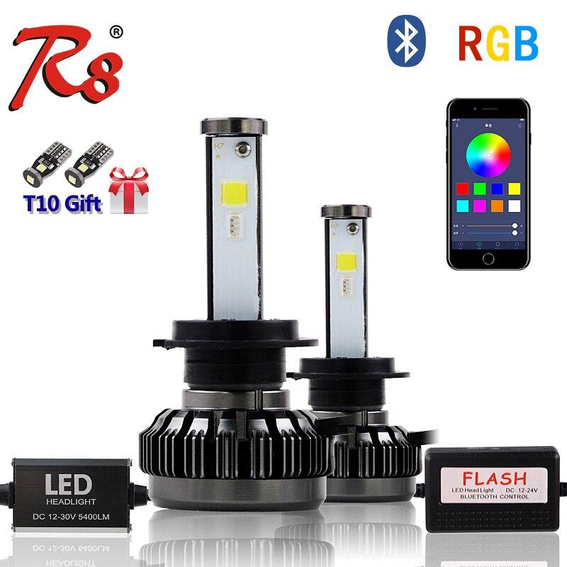 R8 nouveau Kit de phare LED multicolore H1 H4 H7 H8/H11 9005 9006 880 5202 RGB ampoule LED APP Bluetooth contrôle blanc rouge bleu rose