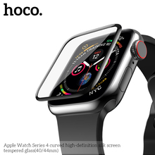 HOCO 9H 3D kavisli tam kapsama temperli cam ekran filmi için Apple Watch iWatch serisi 5 serisi 4 40mm 44mm ekran koruyucu