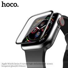 HOCO protecteur décran en verre trempé 9H, couverture complète, 40mm 44mm, incurvé, pour Apple Watch série 5 iWatch série 4