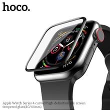 Hoco 9 h 3d curved full coverage apple 시계 용 강화 유리 스크린 필름 iwatch series 5 series 4 40mm 44mm 화면 보호기