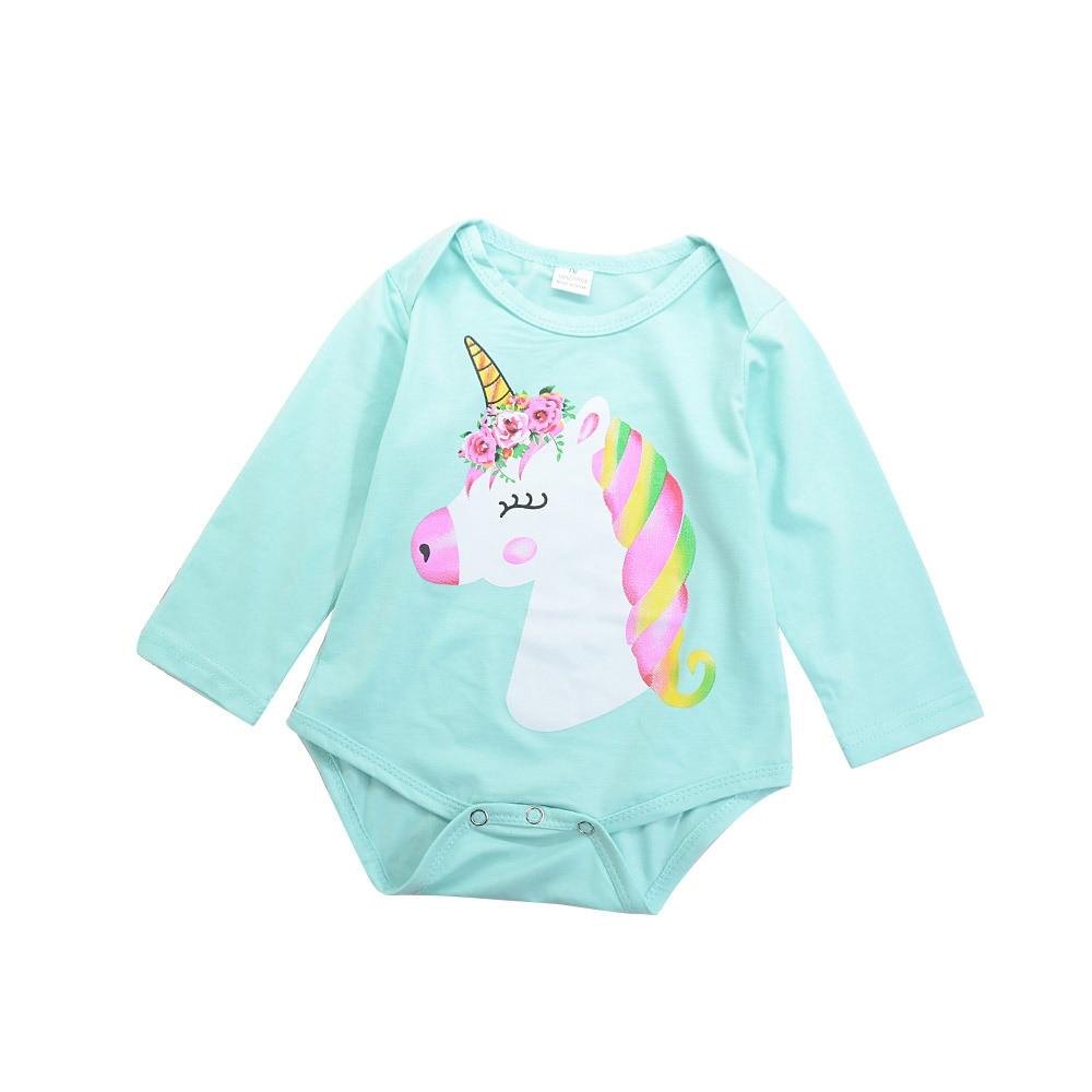 2018 Новый Прекрасный Одежда для девочек; Одежда для новорожденных хлопок Длинные рукава хлопковые комбинезоны наряд с рисунком