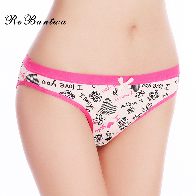 Buy Rebantwa Brand 5pcs Woman Underwear Cotton Sexy Panties Lot Briefs Letter Printed Cute Ladies Knickers New Lingerie Intimates