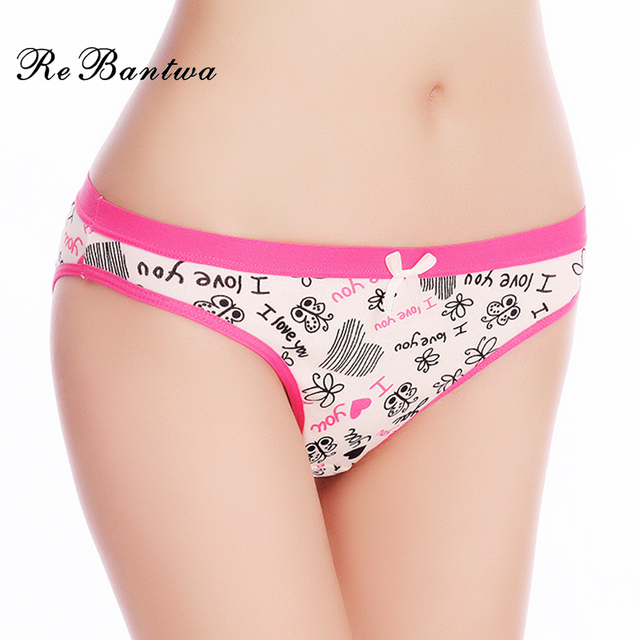 da8d3d22e8 Rebantwa Brand 5pcs Woman Underwear Cotton Sexy Panties Lot Briefs Letter  Printed Cute Ladies Knickers New Lingerie Intimates