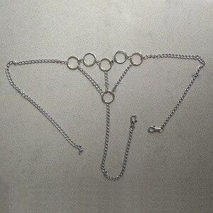 Image 5 - 女性金属チェーンセクシーな衣装のオープンブラジャーポルノランジェリーセクシーな衣装ファンタジアナイトウェアホルター Dessous フェチランジェリー