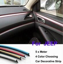 5 Meter Car Rein Side moulding decoration Strip decorative tape Auto dash panel trim strip Cherokee Liberty