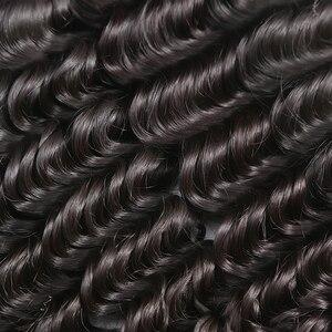 Image 4 - Rosabeauty derin dalga 28 30 inç 3 4 demetleri brezilyalı Remy saç 100% insan saç uzatma doğa örgü su kıvırcık