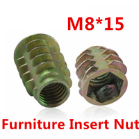 50pcs M8*15 Furniture Nut Cabinet Connecting Screw Internal Thread Insert Nuts/ Hex Drive Head Decoration Wood Insert Nut