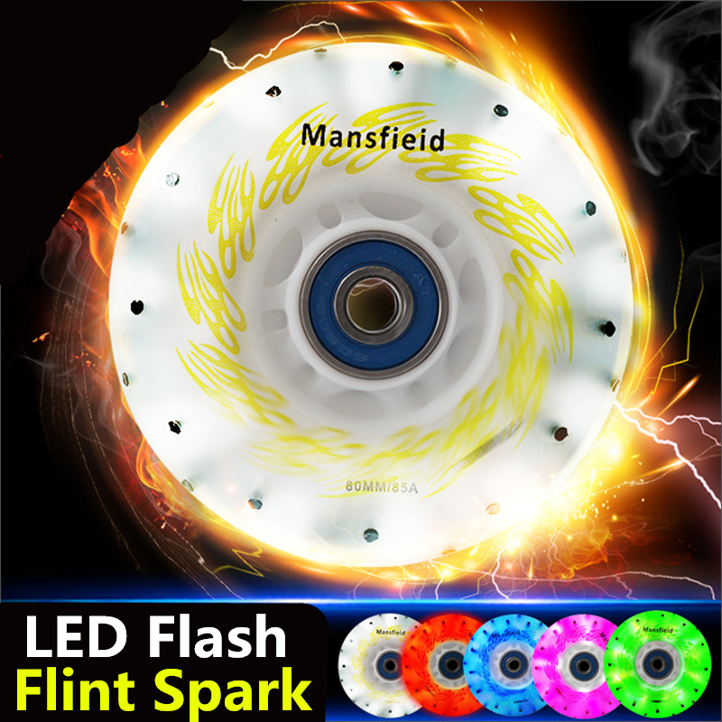 [LED and Spark] 85A LED Flash Shining Inline Skates Wheel, with 52 104 208 Flint Fire Stones Sparking Roller for SEBA IGOR HV HL