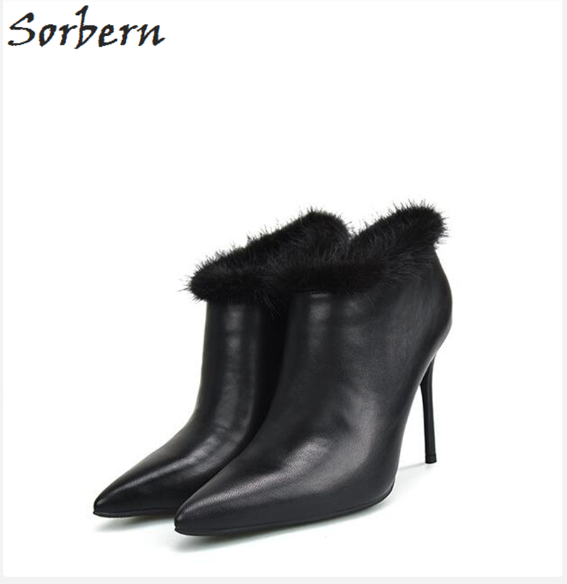 Sorbern PU Women Botas Mujer Ankle Boots For Women 10CM 8CM Thin Heels Pointed Toe Zapatos Mujer Botte Femme Bota Feminina цена