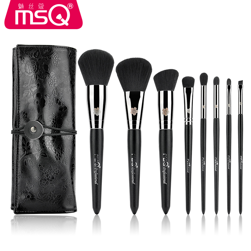 MSQ 8pcs Makeup Brushes Set Powder Foundation Eyeshadow Eyeliner Lip Brush Tool artificial fiber wood handle brush for beginner
