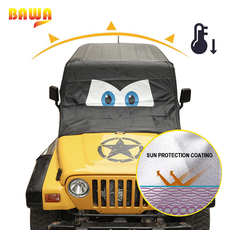 Image 4 - BAWA Car Windshield Anti Sunshad Snow Cover for Jeep Wrangler TJ JK JL 1997 2018 Frost Ice Shield Dust Protector Cover-in Car Covers from Automobiles & Motorcycles