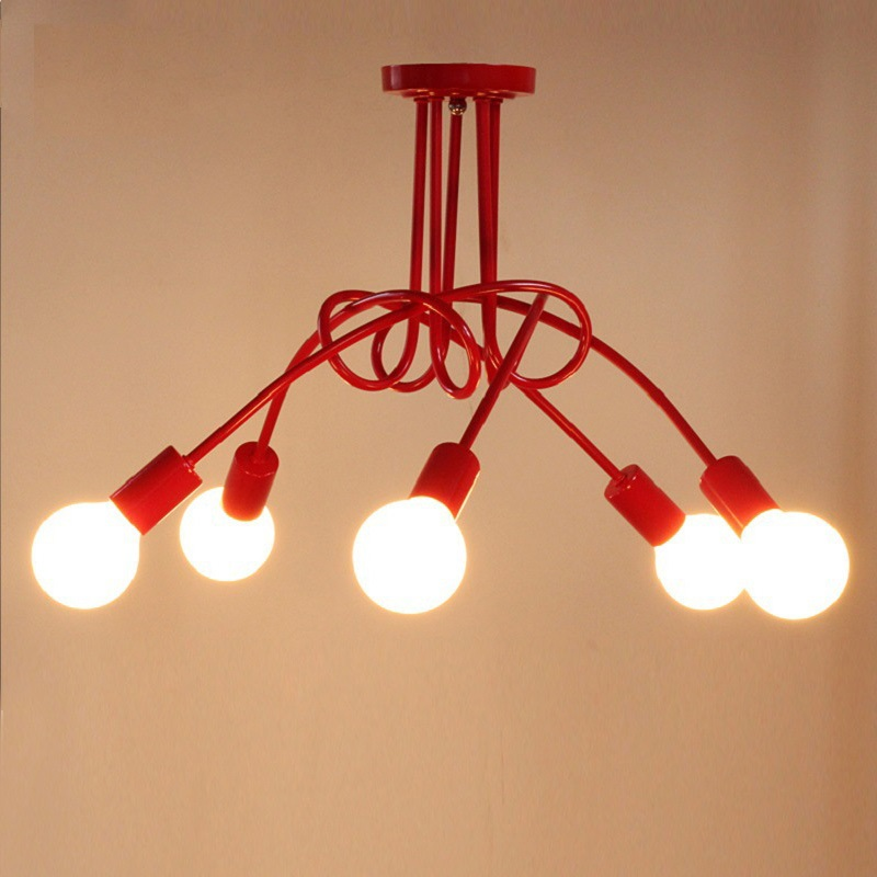 Simple Creative 3&5 Heads Black White Red Color E27 Ceiling Lamp Vintage Ceiling Lights Personality Modern Brief  Ceiling LightsSimple Creative 3&5 Heads Black White Red Color E27 Ceiling Lamp Vintage Ceiling Lights Personality Modern Brief  Ceiling Lights