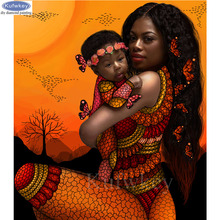 African art diy diamond painting Mom and baby portrait 5d embroidery full square rhinestone mosaic puzzle cross stitch
