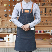 Unisex Blue Black Denim Bib Apron W Leather Strap Barber Barista Florist Cafe Chef Uniform Tattoo