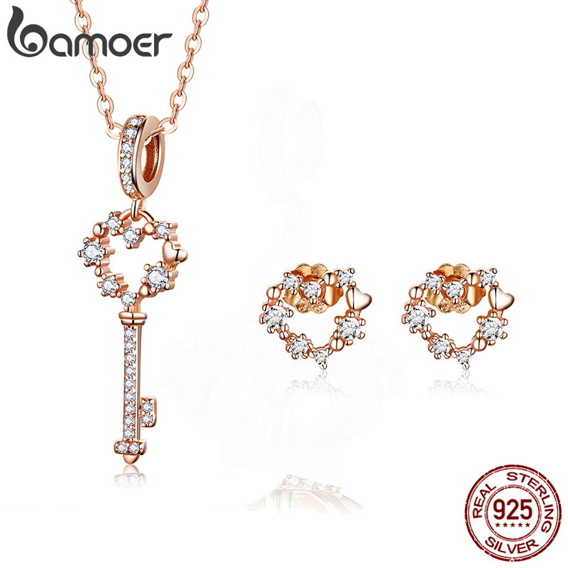BAMOER Authentic 925 Sterling Silver Key and Heart Pendant Necklace and Stud Earrings Set Silver Jewelry Sets for Women ZHS113