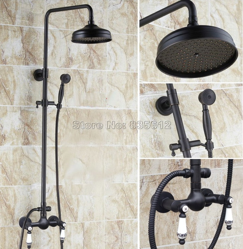 Bathroom Black Oil Rubbed Bronze Rain Shower Faucet Set with Handheld Shower & Ceramic Handles Mixer Taps Wall Mounted Wrs517