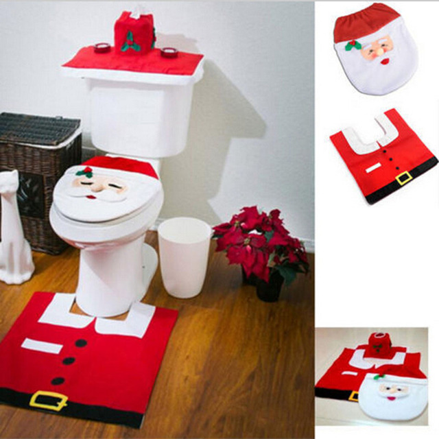 3Pc Set Christmas Santa Claus Bathroom Toilet Seats Cover Decoration
