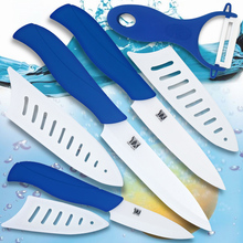 """Keramik messer set 3 """"schäl 4"""" utility 5 """"fleischmesser küchenmesser mit einem scharfen weiß + tiefblauen peeler kochwerkzeug verkauf"""