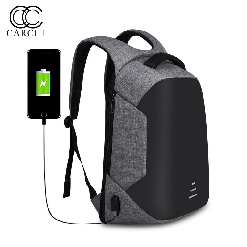 все цены на CARCHI Oxford Anti Theft Backpack For Men Backpacks Waterproof Bag Unisex USB Charge Backpack 14 Inch Laptop Travel Bags онлайн