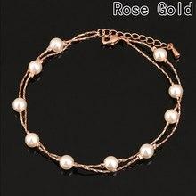 0a1549108ede Una pieza Fair Charm pulseras y brazaletes de oro rosa Color moda simulado  perla cuentas de boda joyería para las mujeres