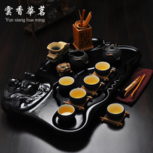 Tea set Yixing purple sand tea set Maitreya solid wood tea tray kungfu teapot for friends a gift on sale
