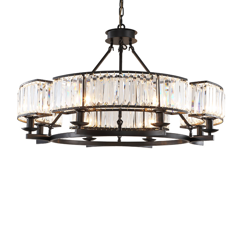 Modern Crystal Chandelier Light Luxury Round Chandeliers Lamp Black Circle Fixture Vintage Style Lustres for Living Dining RoomModern Crystal Chandelier Light Luxury Round Chandeliers Lamp Black Circle Fixture Vintage Style Lustres for Living Dining Room