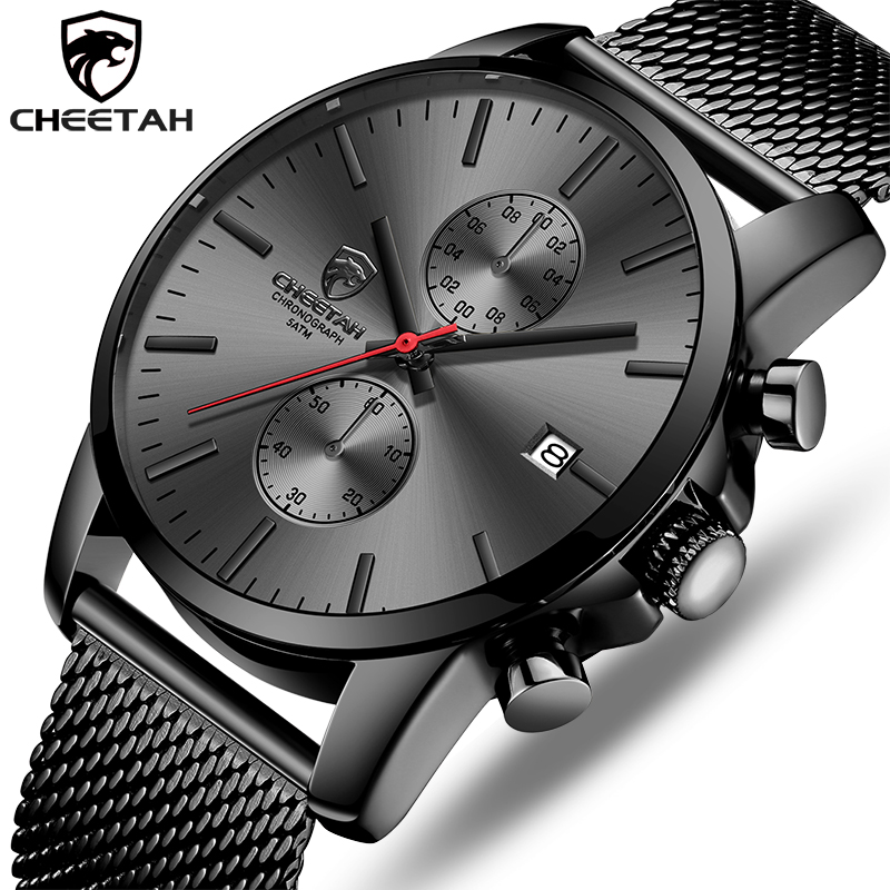 CHEETAH Brand Men Watch Fashion Business Quartz Wrist Watches Stainless Steel Mesh Chronograph Male Clock Date Relogio Masculino