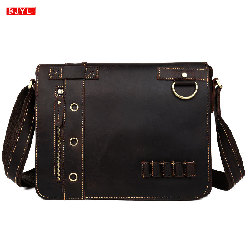 Retro Crazy Horse Leather Men's Handbags Business Laptop Briefcase First Layer Leather Crossbody Bags Male Handmade Shoulder Bag