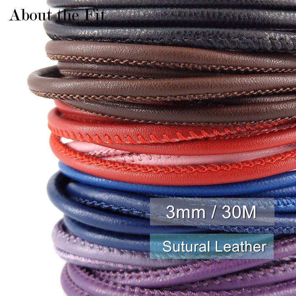 À propos de l'ajustement 3mm 30 M Sutural cuir d'agneau cousu cordon en cuir avec noyau de coton perles de laçage corde Bracelet collier artisanat