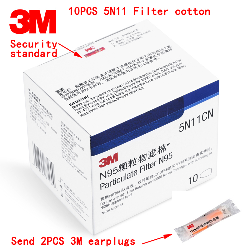 N95 6200 Dust Manufacturers Cotton Genuine Antivirus Send 7502 3m Earplugs Mask Filter 10pcs 5n11