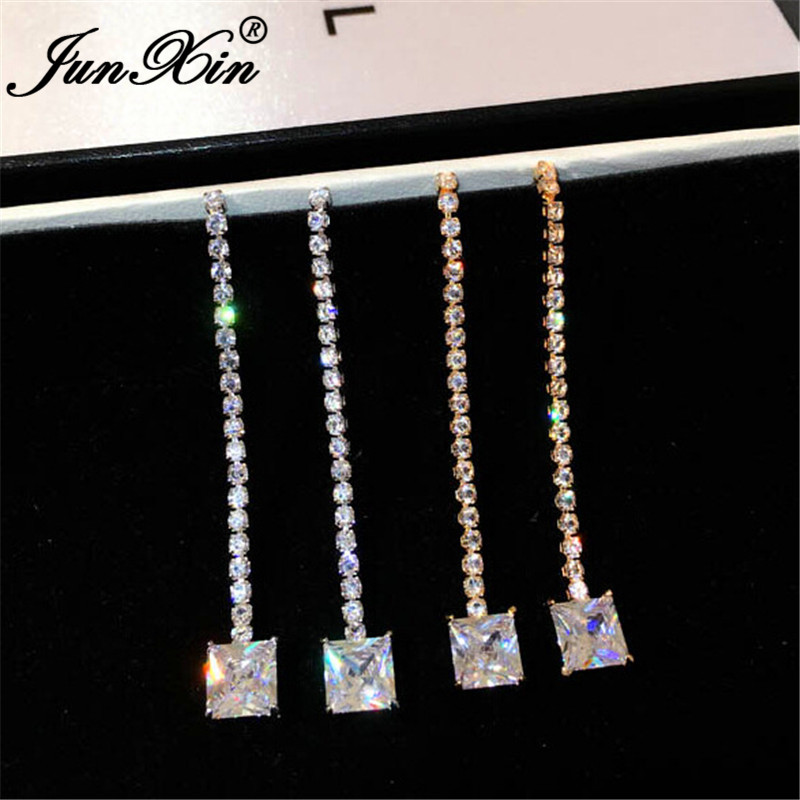 JUNXIN Female Crystal Wedding Drop Earrings White/Yellow Gold Color Square White Zircon Stone Long Dangle Earrings For Women
