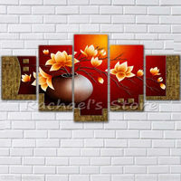 Hand painted Five Pieces Yellow magnolia flowers oil painting on canvas Red magnolia Flower wall picture Living Room Home Decor