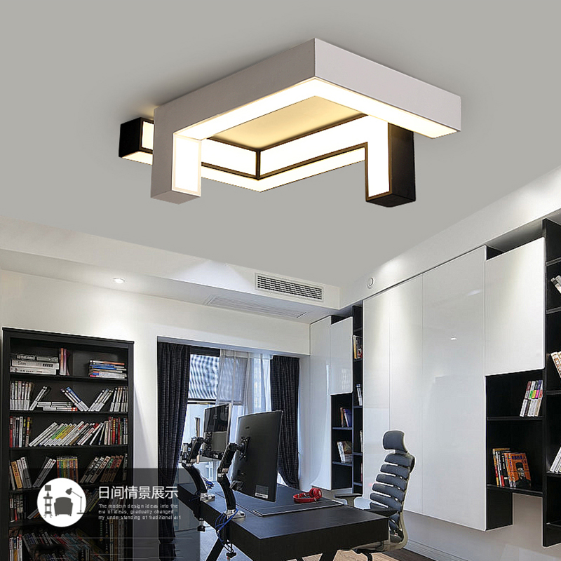 Rectangle LED Ceiling Lights For Living Room Bedroom AC85~265V Black/White Modern Ceiling Lamp Home Decoration Lighting Fixtures led ceiling lights for hallways bedroom kitchen fixtures luminarias para teto black white black ceiling lamp modern