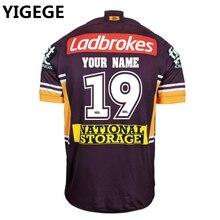 9cc899ddbcec YIGEGE пользовательские имена и номера nrl Джерси Австралия 2019 Брисбен  Бронкос домашний Регби Джерси Лига рубашка Джерси