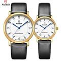 Nuodun amantes marca de luxo relógio das mulheres dos homens de aço inoxidável relógio de pulso pulseira de couro relógios de quartzo reloj mujer 2019gl