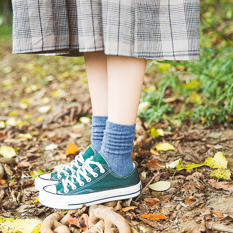 Autumn and Winter New Thickened Medium Tube Woolen Socks for Women Warm Pure Color Socks in Socks from Underwear Sleepwears