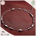 Good Quality Simple Design Casual And Sport Style 925 Authentic Silver Olive Barrel Bead Charm Foot Anklet Chain For Girls