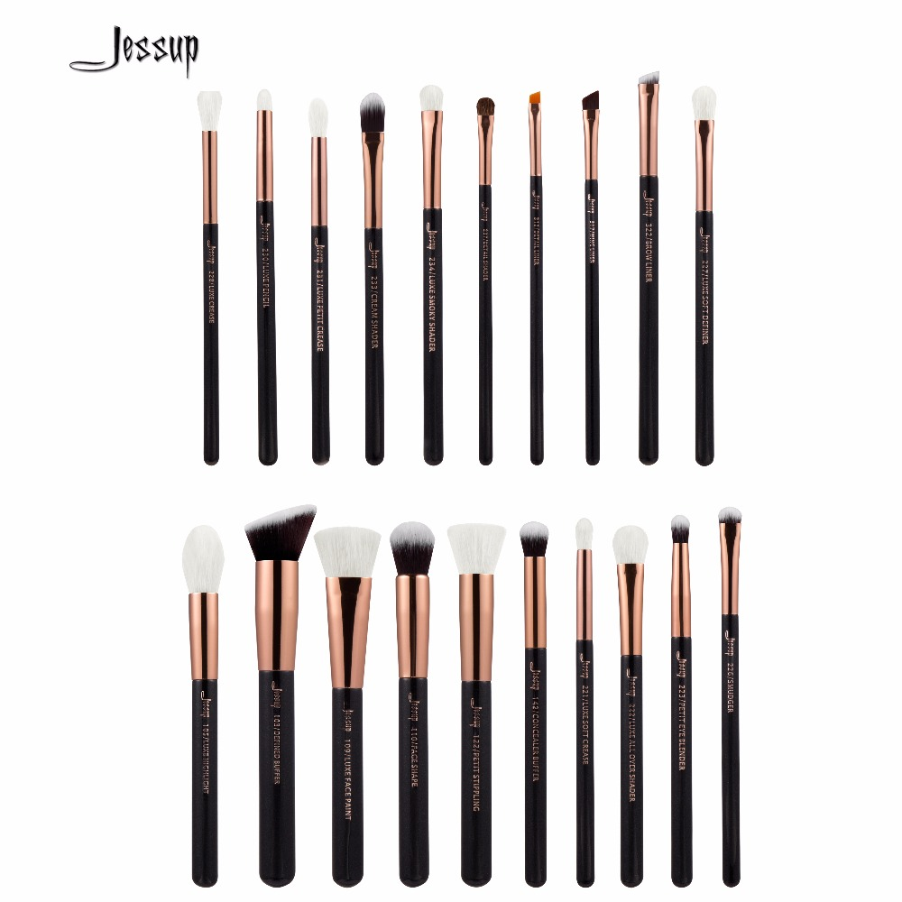 Jessup Brushes 20pcs Professional Makeup Brushes Set Cosmetics Brush Tools kit Foundation Powder Brushes T165 147 pcs portable professional watch repair tool kit set solid hammer spring bar remover watchmaker tools watch adjustment
