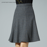 2018 Womens Wool Skirts Winter Warm A Line High Waist Plaid Mini Skirt Female Jupe Plus Size Houndstooth Short Skirts Bottoms
