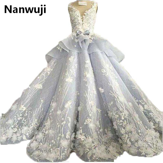 2017 New Real Photos Spaghetti Chapel Train  Sweetheart Ball Gown Luxury Wedding Dress Grey Blue Miss Green vestidos de novia