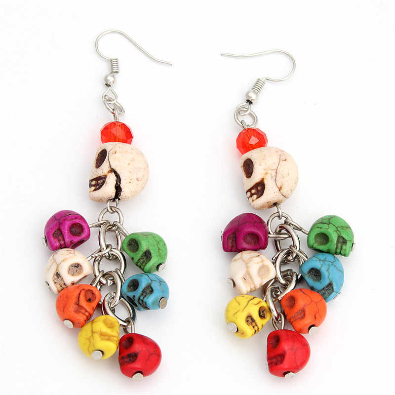 1pair Whimsical Skull Earrings Celebrate Mexican Day Of The Dead Halloween Skull Earring With Beads For Women Gift E2012