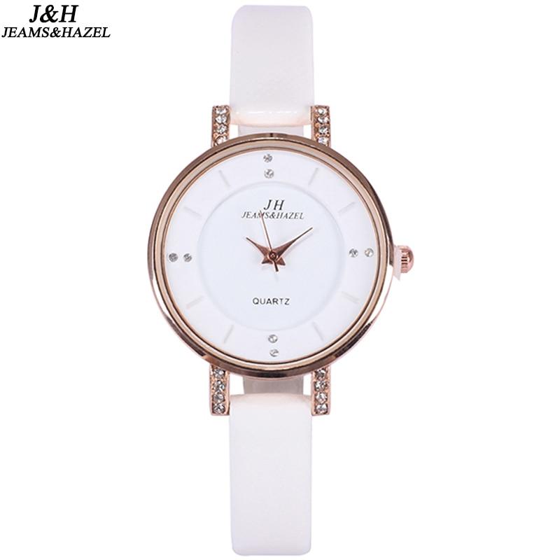 Rozā zelta sievietes plānas ādas baltas joslas rhinestone pulksteņi sievietēm top zīmola vienkāršs modes analogais pulkstenis Relogio Feminino