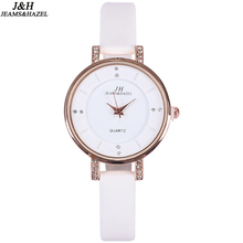 Rose Gold Women Thin Leather White Band Rhinestone Wristwatches For Lady Top Brand Simple Fashion Analog Watch Relogio Feminino