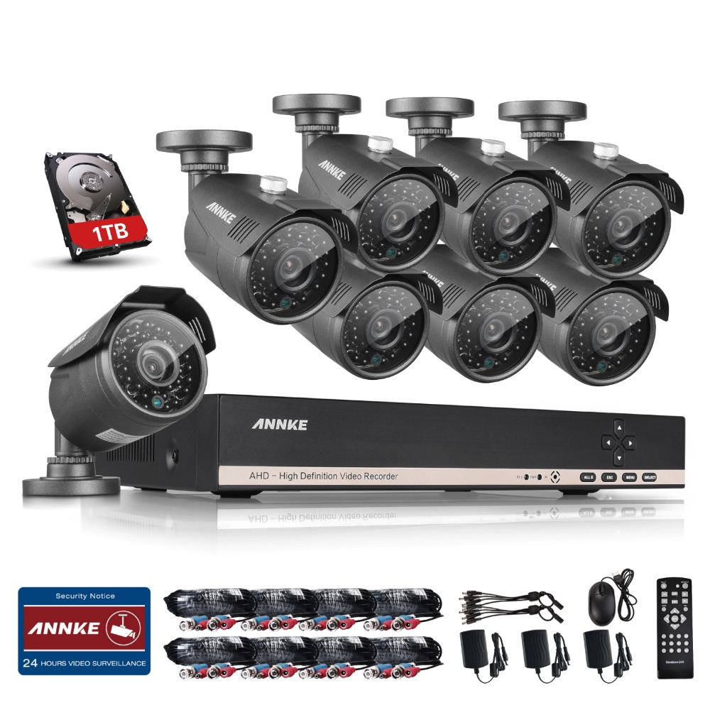 Фото ANNKE 8CH AHD HDMI DVR 1.3MP IR Outdoor Weatherproof 8PCS CCTV Camera Home Security Surveillance CCTV System Kits 1TB HDD