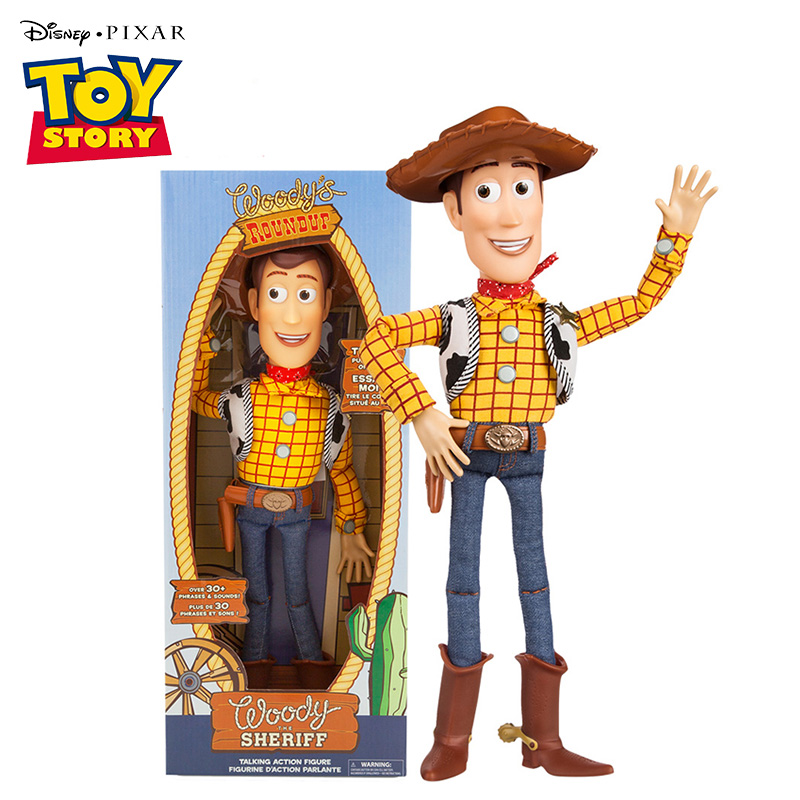 16'' Disney Pixar Toy Story 4 Talking Woody Jessie Buzz Lightyear Bo Peep Doll Action Figures Collectible Model Toy for Children