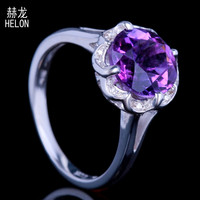Real 925 Sterling Silver 9MM Round 2.6ct Genuine Amethyst Engagement Ring Pave Real Natural Diamonds Wedding Women Jewelry Ring