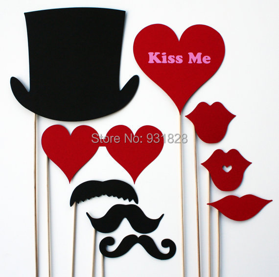 Valentines Day Photo Booth Props   9 Piece Photobooth Prop Wedding Birthday  Party Masks